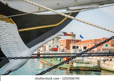 LIVORNO, Italy-april 28, 2018: Nave Italia ship on the port of Livorno, Tuscany, Italy. Figurehead of the ship. Nave Italia is the biggest sailing brig in the world.
