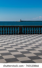 Livorno' s Mascagni Terrace and White LightHouse in background,