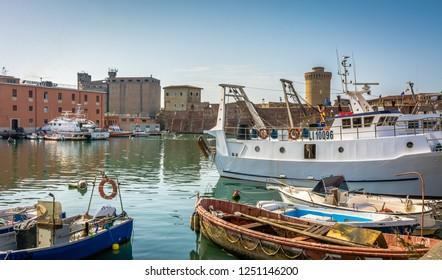 LIVORNO, Tuscany, Italy - april 28, 2018: View of the Fortezza Vecchia, an Old Fortress with a tower located in Livorno, on an area that many call little Venice, Tuscany, Italy.