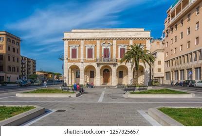 LIVORNO, Tuscany, Italy - april 28 28, 2018: historic building near the port of the city of Livorno, Tuscany, Italy