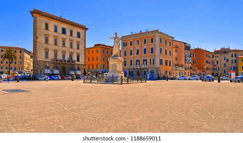 LIVORNO,ITALY 15.07.2017. - Old colorful houses on the Grand square in Livorno . Livorno was founded in 1017 as one of the small coastal fortresses protecting Pisa.