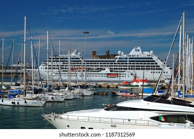 Livorno/Tuscany/Italy - 12 October 2016:  Livorno is an Italian port city on the west coast of Tuscany. Beautiful white giant luxury cruise ship on stay at Livorno harbour.
