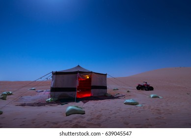 Liwa/Abu Dhabi-Sept 18: Tent in desert at night  summer on Sept 18,2016 in Abu Dhabi/UAE