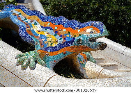 Lizard Fountain at Park Guell in in Barcelona, Spain