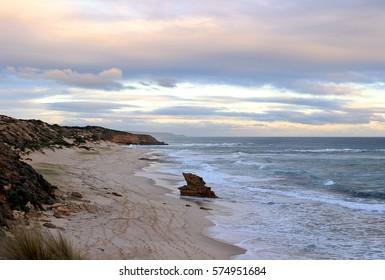 Lizard Head Rock at Rye Back Beach at sunset, Mornington Peninsula, Victoria, Australia