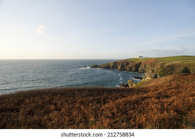 Lizard Point in Cornwall, UK with the historical Lizard Point Lighthouse , the most southerly point on mainland Great britain