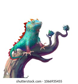 The Lizard Stays on the Branch isolated on White Background with Fantastic, Realistic and Futuristic Style. Video Game's Digital CG Artwork, Concept Illustration, Realistic Cartoon Style Scene Design