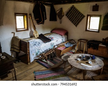 LJUBACEVO, BOSNIA AND HERZEGOVINA - SEPTEMBER 10th 2017: Typical farmers cottage room in the museum Etno selo Ljubacevo set as it would have been at the beginning of the 20th century
