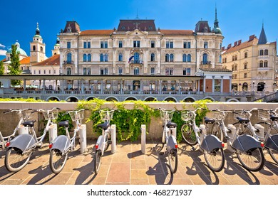Ljubljana architecture and tourist bikes, capital city of Slovenia