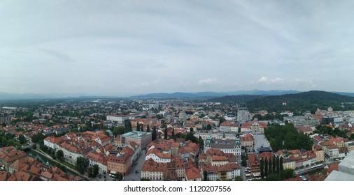 Ljubljana center of the city castle views