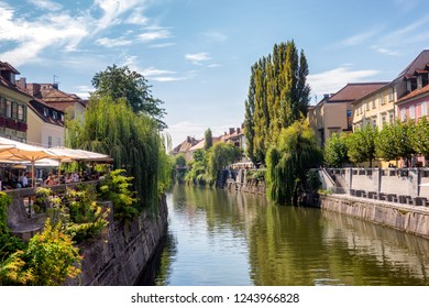 Ljubljana city center with canals and waterfront, Slovenia