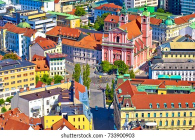 Ljubljana city center and Presern square aerial view, capital of Slovenia