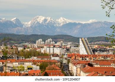 Ljubljana city panorama as seen from Ljubljana castle in Ljubljana, Slovenia