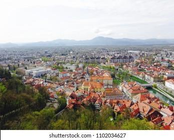 Ljubljana city view with Ljubljana Liver from Ljubljana castle, Slovenia.