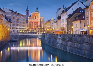 Ljubljana. Image of Ljubljana, Slovenia during twilight blue hour.