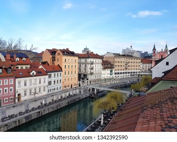 Ljubljana and Ljubljanica river from above