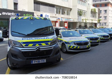 Ljubljana, Republic of Slovenia -  August 5, 2017: Slovenian National Police cars , parked on a public parking lot in city of Ljubljana.