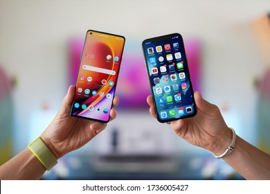 Ljubljana / Slovenia - 2020 May 16: Compare OnePlus 8 Pro vs Apple iPhone 11 Pro