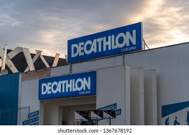 Ljubljana, Slovenia - 26.2.2019 :DECATHLON front store photo ,View of Decathlon Shop front The Sport Complex, at TESCO Lotus Super Department store
