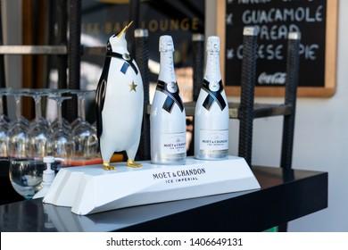 Ljubljana, Slovenia 7.5.2019: two bottles of Moet Chandon Ice Imperial champagne