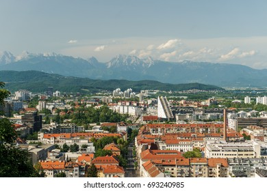 Ljubljana, Slovenia with the Alps in the distance