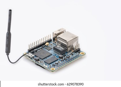 LJUBLJANA, SLOVENIA - APRIL 13, 2017: Photo showing an Orange Pi Zero open source single board computer, for anyone who wants to start creating with technology. It can run Android, Ubuntu or Debian.