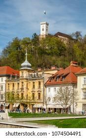 Ljubljana / Slovenia - April 14 2018: Ljubljana old town and castle above the city of Ljubljana, Slovenia.