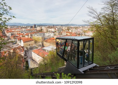 Ljubljana / Slovenia - April 14 2018:  People in funicular on their way to the Ljubljana castle in Ljubljana, Slovenia