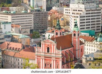 Ljubljana / Slovenia - April 14 2018: Franciscan Church of the Annunciation on Presern square in Ljubljana old town in Ljubljana, Slovenia