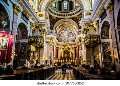 LJUBLJANA, SLOVENIA - April 2018: Ornate interior of St. Nicholas Cathedral or Ljubljana Cathedral, Slovenia