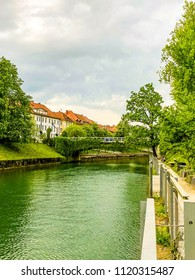 LJUBLJANA, SLOVENIA - APRIL 24, 2018:View of Ljubljana's city center river Ljubljanica,   Ljubljana, Slovenia