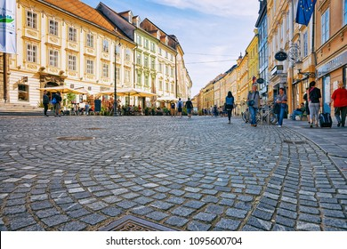 Ljubljana, Slovenia - April 27, 2018: Cobblestoned Town Square in the historical center of Ljubljana, Slovenia