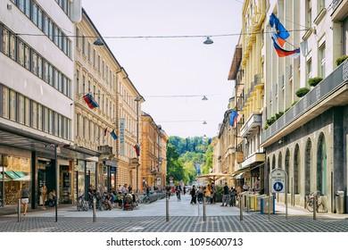 Ljubljana, Slovenia - April 27, 2018: Cankarjeva cesta street in the historical center of Ljubljana, Slovenia