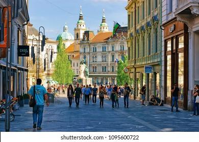 Ljubljana, Slovenia - April 27, 2018: People at Presernov Square in the historical center of Ljubljana, Slovenia