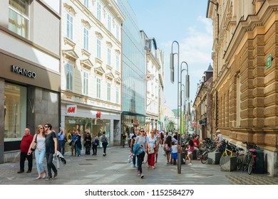 Ljubljana, Slovenia - April 28, 2018: People on the Street in Ljubljana in Slovenia