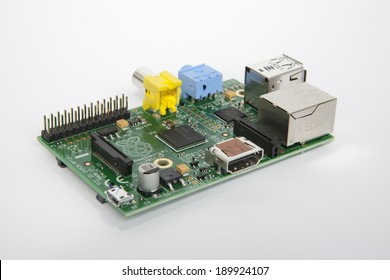 LJUBLJANA, SLOVENIA - APRIL 29, 2013: Photo showing a Raspberry Pi credit card sized single board computer  developed in the UK by the Raspberry Pi Foundation. It uses open source software.