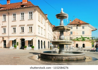 Ljubljana, Slovenia - April 29, 2018: Water fountain on New Square in Ljubljana in Slovenia