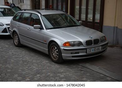 LJUBLJANA, SLOVENIA - AUGUST 13, 2019: BMW E46 320d Touring popular German compact executive 1990s car on the city street