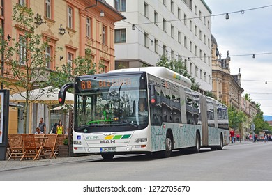 LJUBLJANA, SLOVENIA - AUGUST 14, 2018 - Man CNG city bus, operated by LPP Ljubljana, on Slovenska cesta, the main street of Slovenian's capital