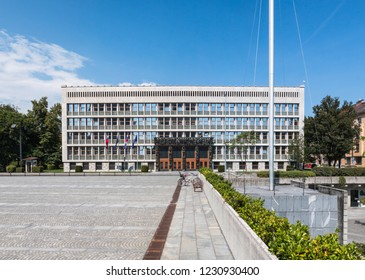 Ljubljana, Slovenia - august 18. 2018: The Republic Square and the Slovenian Parliament in the middle of a hot summer day. At that time, Slovenian members of parliament are on summer holidays.