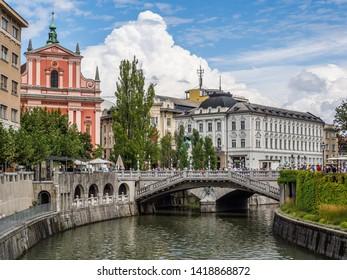 Ljubljana, Slovenia - August 19 2016: The view around triple bridge in Ljubljana river
