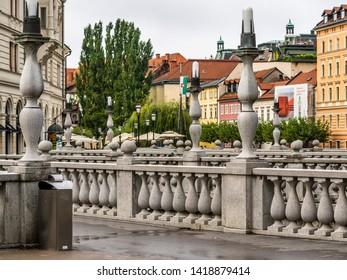 Ljubljana, Slovenia - August 19 2016: The view around the triple bridge in Ljubljana river