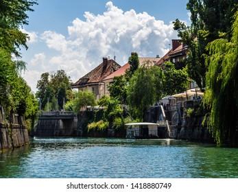 Ljubljana, Slovenia - August 19 2016: The view around Ljubljana river