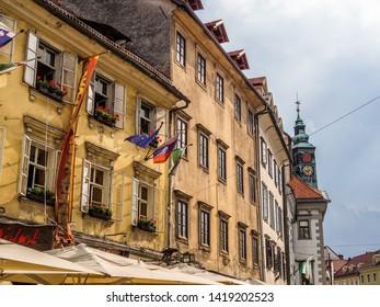 Ljubljana, Slovenia - August 19 2016 : The old town building window in Ljubljana