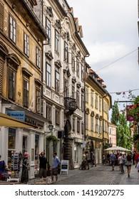 Ljubljana, Slovenia - August 19 2016: The old town street view in Ljubljana river