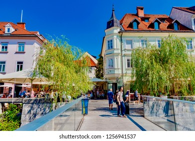 Ljubljana, Slovenia - August 19 2018: view of the streets of the city of Ljubljana in Slovenia