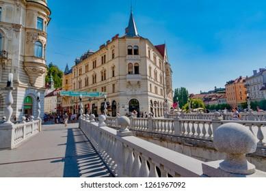 Ljubljana, slovenia - August 19 2018: view of the city of the Dragons in the state of Slovenia in the city of Ljubljana in summer