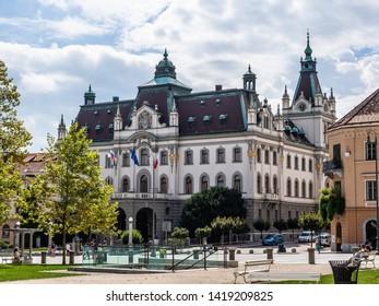 Ljubljana, Slovenia - August 21 2016: The view of old town square in Ljubljana