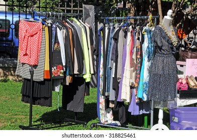 LJUBLJANA, SLOVENIA - AUGUST 29, 2015: Nostalgic Saturday, Vintage Weekend on square at Slovene Ethnographic Museum. Traditional fair of vintage clothes and fashion advice.