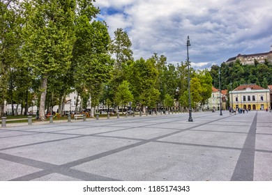 LJUBLJANA, SLOVENIA - AUGUST 6, 2016: Medieval Old city centre: Congress Square (Kongresni trg). Ljubljana - cultural, educational, economic, political and administrative center of Slovenia.